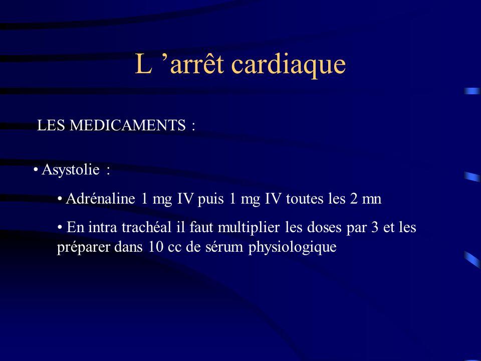 L arrêt cardiaque LES MEDICAMENTS : Asystolie : Adrénaline 1 mg IV puis 1 mg IV toutes les 2 mn En intra trachéal il faut multiplier les doses par 3 et les préparer dans 10 cc de sérum physiologique