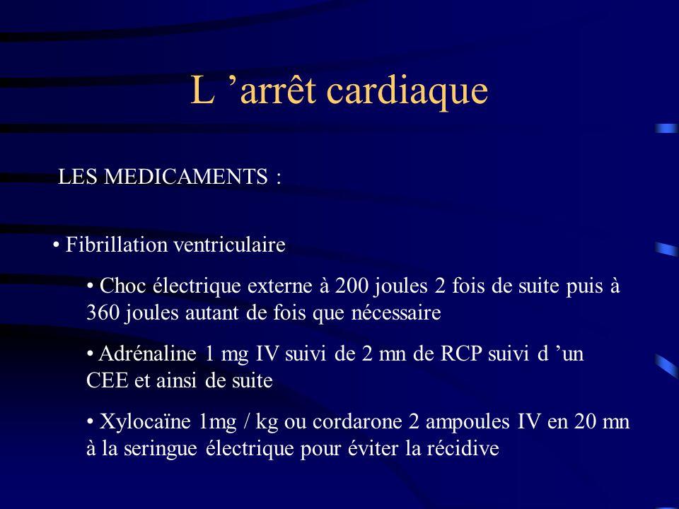 L arrêt cardiaque LES MEDICAMENTS : Fibrillation ventriculaire Choc électrique externe à 200 joules 2 fois de suite puis à 360 joules autant de fois que nécessaire Adrénaline 1 mg IV suivi de 2 mn de RCP suivi d un CEE et ainsi de suite Xylocaïne 1mg / kg ou cordarone 2 ampoules IV en 20 mn à la seringue électrique pour éviter la récidive