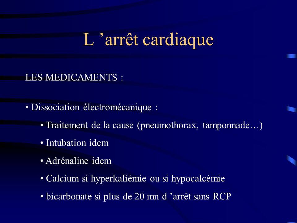 L arrêt cardiaque LES MEDICAMENTS : Dissociation électromécanique : Traitement de la cause (pneumothorax, tamponnade…) Intubation idem Adrénaline idem Calcium si hyperkaliémie ou si hypocalcémie bicarbonate si plus de 20 mn d arrêt sans RCP