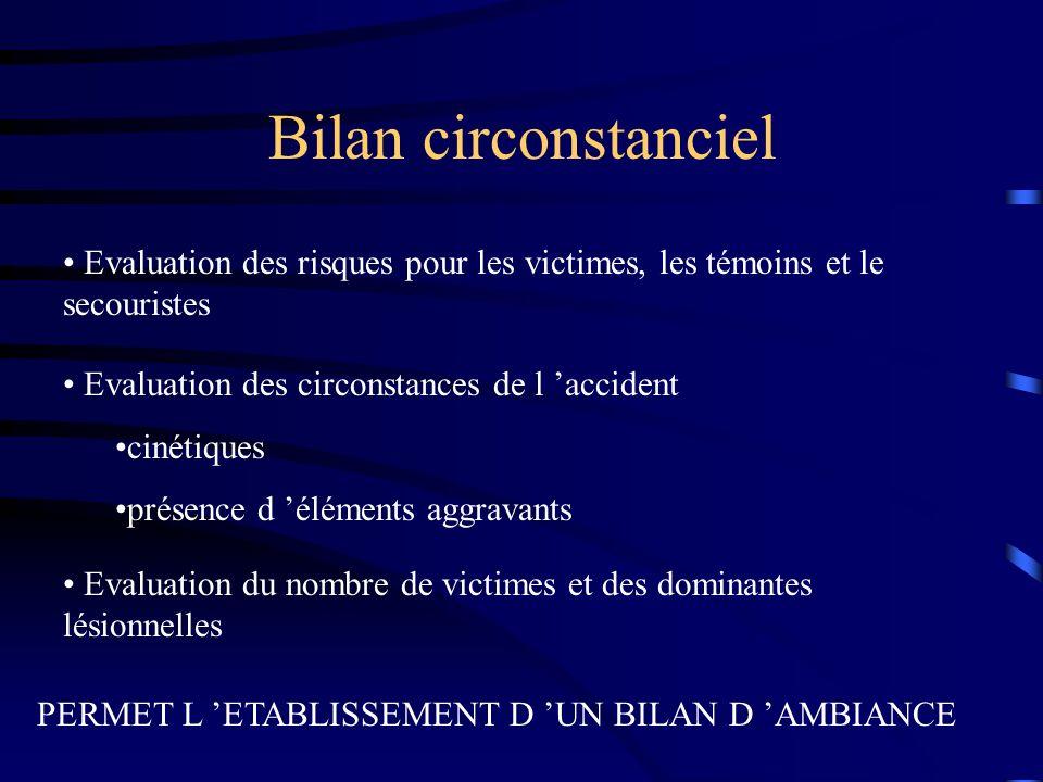 Bilan circonstanciel Evaluation des risques pour les victimes, les témoins et le secouristes Evaluation des circonstances de l accident cinétiques pré