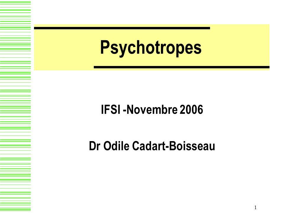 2 Psychotropes Sédatifs : Hypnotiques AnxiolytiquesAnxiolytiques Neuroleptiques ou antipsychotiquesNeuroleptiques ou antipsychotiques Régulateurs de lhumeur = ThymorégulateursRégulateurs de lhumeur = Thymorégulateurs Stimulants AntidépresseursAntidépresseurs Stimulants de la vigilance