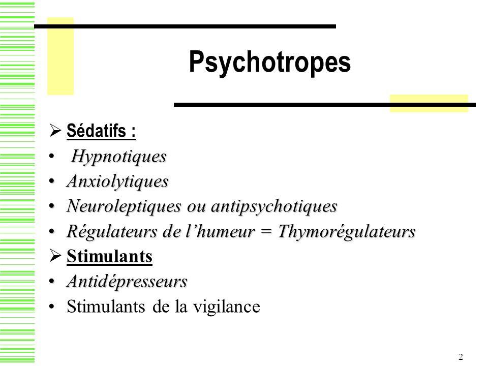 2 Psychotropes Sédatifs : Hypnotiques AnxiolytiquesAnxiolytiques Neuroleptiques ou antipsychotiquesNeuroleptiques ou antipsychotiques Régulateurs de l