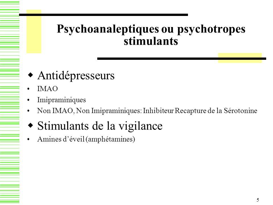 5 Psychoanaleptiques ou psychotropes stimulants Antidépresseurs IMAO Imipraminiques Non IMAO, Non Imipraminiques: Inhibiteur Recapture de la Sérotonin