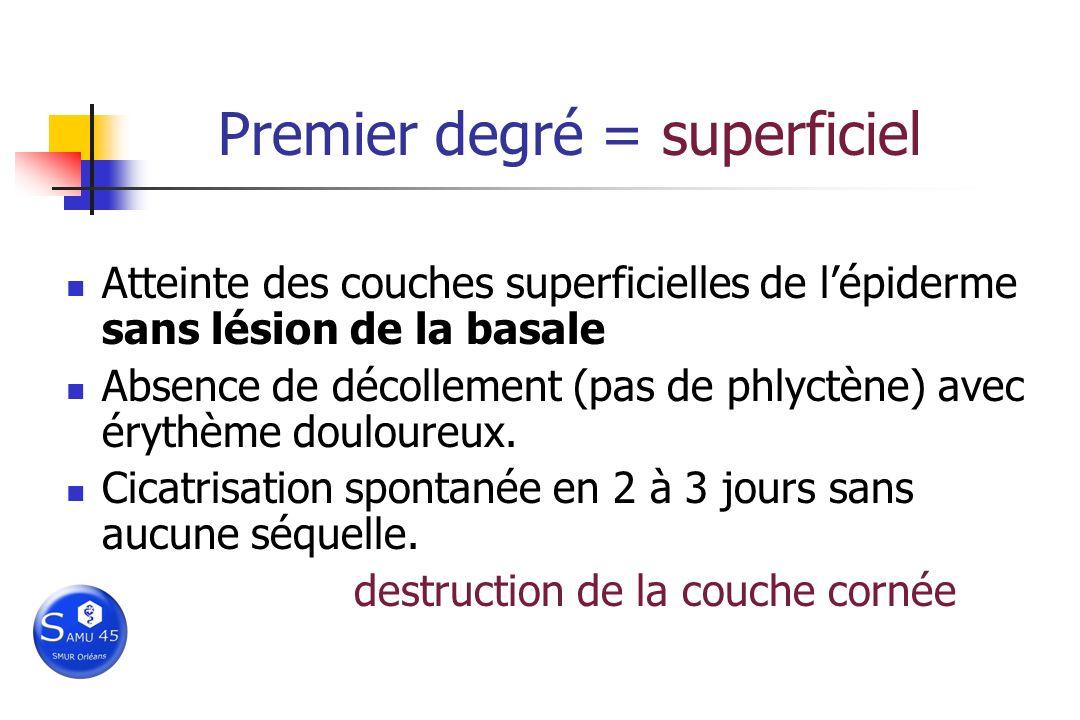 Premier degré = superficiel Atteinte des couches superficielles de lépiderme sans lésion de la basale Absence de décollement (pas de phlyctène) avec é