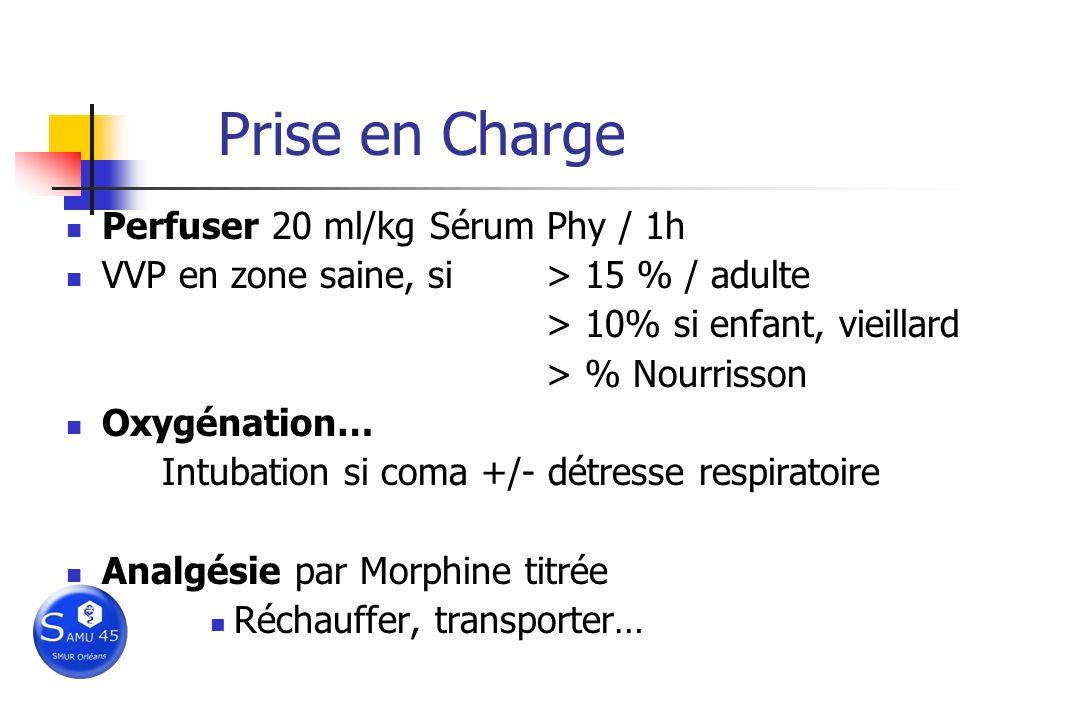 Prise en Charge Perfuser 20 ml/kg Sérum Phy / 1h VVP en zone saine, si> 15 % / adulte > 10% si enfant, vieillard > % Nourrisson Oxygénation… Intubatio