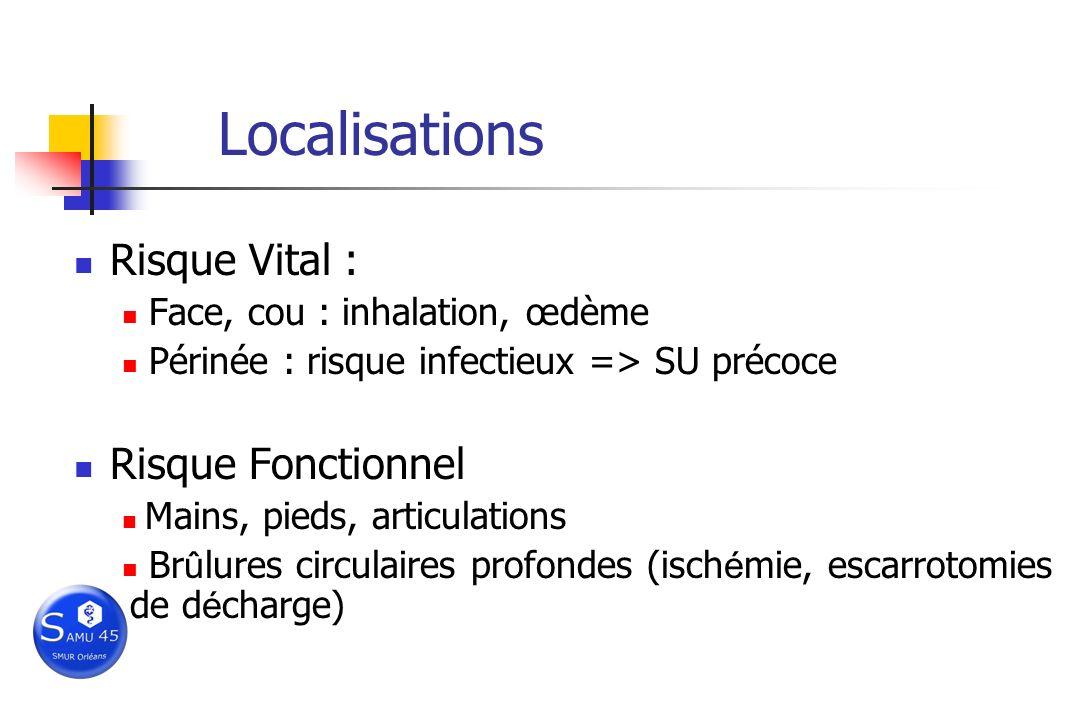 Localisations Risque Vital : Face, cou : inhalation, œdème Périnée : risque infectieux => SU précoce Risque Fonctionnel Mains, pieds, articulations Br