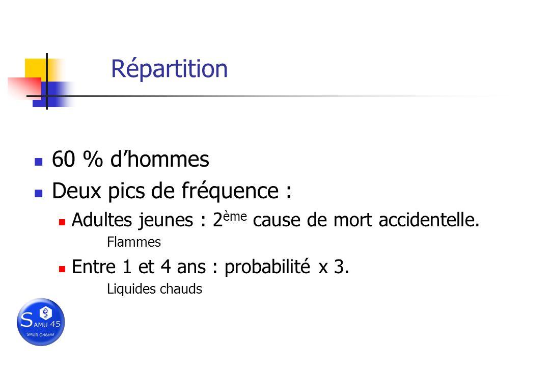 Répartition 60 % dhommes Deux pics de fréquence : Adultes jeunes : 2 ème cause de mort accidentelle. Flammes Entre 1 et 4 ans : probabilité x 3. Liqui
