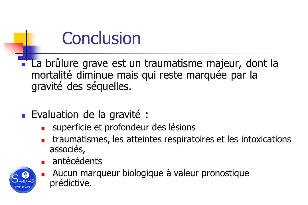 Conclusion La brûlure grave est un traumatisme majeur, dont la mortalité diminue mais qui reste marquée par la gravité des séquelles. Evaluation de la