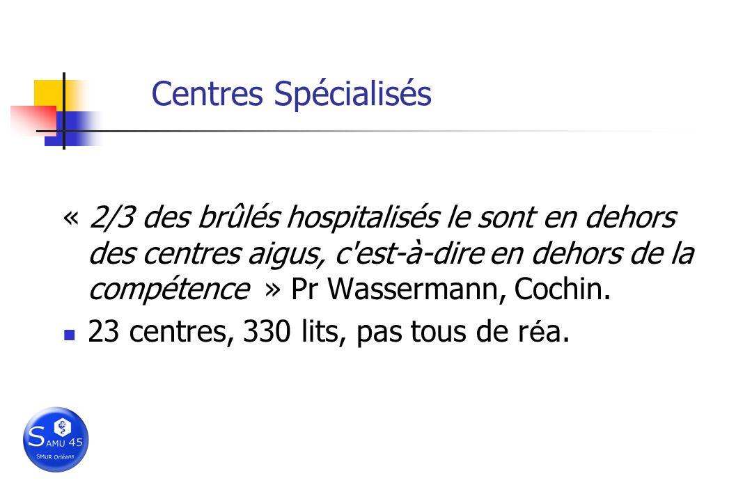 Centres Spécialisés « 2/3 des brûlés hospitalisés le sont en dehors des centres aigus, c'est-à-dire en dehors de la compétence » Pr Wassermann, Cochin