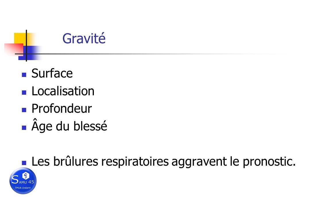 Gravité Surface Localisation Profondeur Âge du blessé Les brûlures respiratoires aggravent le pronostic.