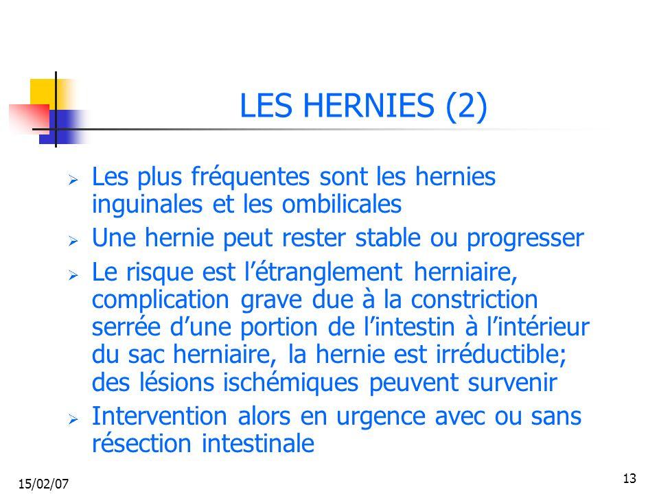 15/02/07 13 LES HERNIES (2) Les plus fréquentes sont les hernies inguinales et les ombilicales Une hernie peut rester stable ou progresser Le risque e