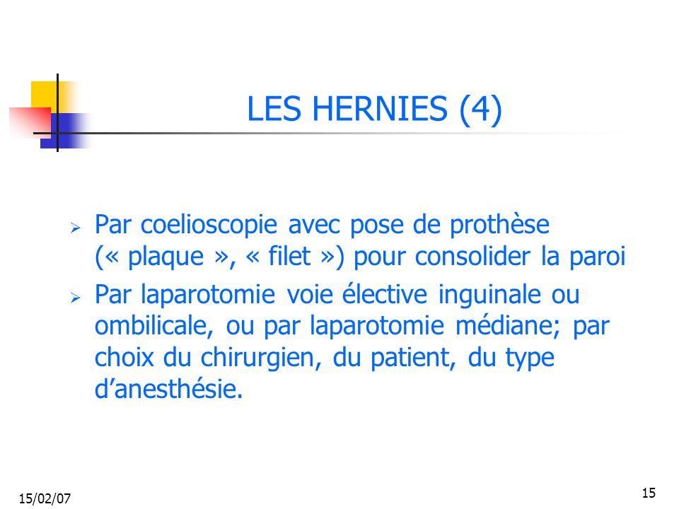 15/02/07 15 LES HERNIES (4) Par coelioscopie avec pose de prothèse (« plaque », « filet ») pour consolider la paroi Par laparotomie voie élective ingu