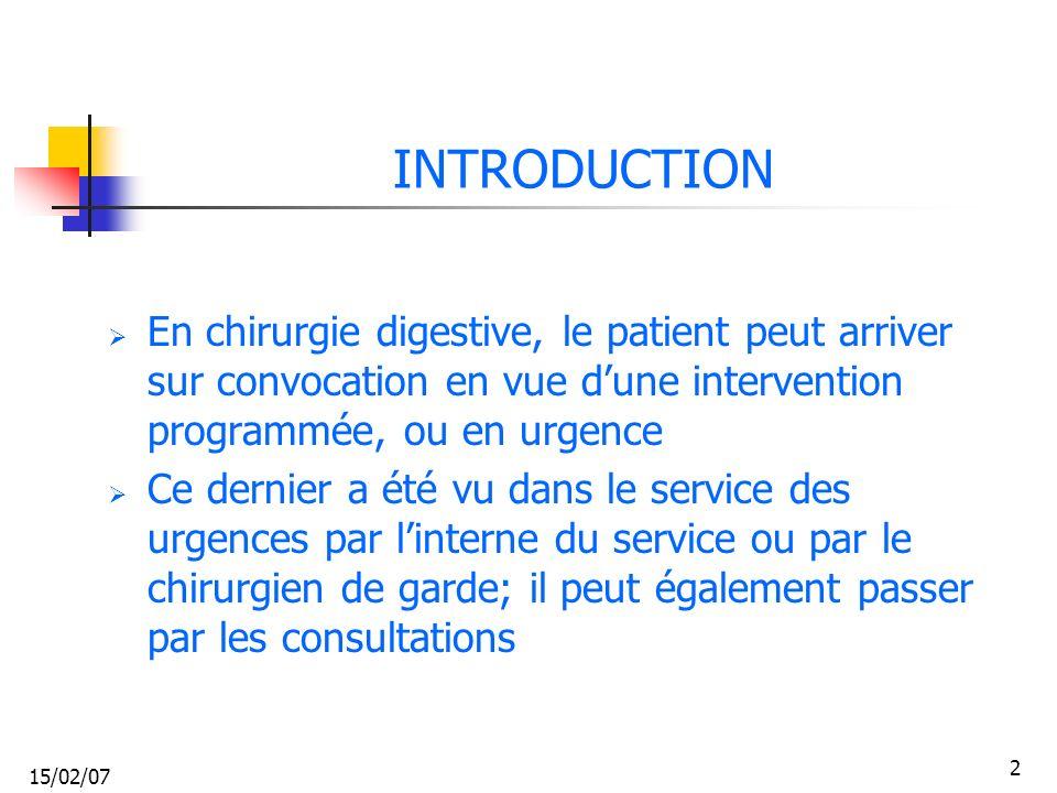 15/02/07 2 INTRODUCTION En chirurgie digestive, le patient peut arriver sur convocation en vue dune intervention programmée, ou en urgence Ce dernier