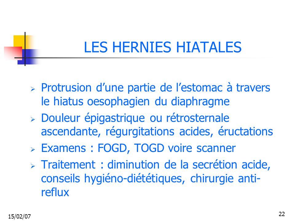 15/02/07 22 LES HERNIES HIATALES Protrusion dune partie de lestomac à travers le hiatus oesophagien du diaphragme Douleur épigastrique ou rétrosternal