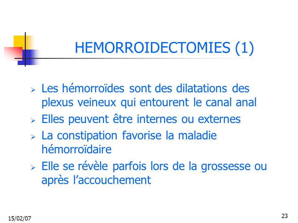 15/02/07 23 HEMORROIDECTOMIES (1) Les hémorroïdes sont des dilatations des plexus veineux qui entourent le canal anal Elles peuvent être internes ou e
