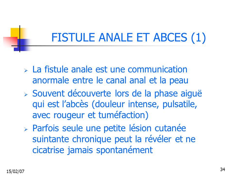15/02/07 34 FISTULE ANALE ET ABCES (1) La fistule anale est une communication anormale entre le canal anal et la peau Souvent découverte lors de la ph