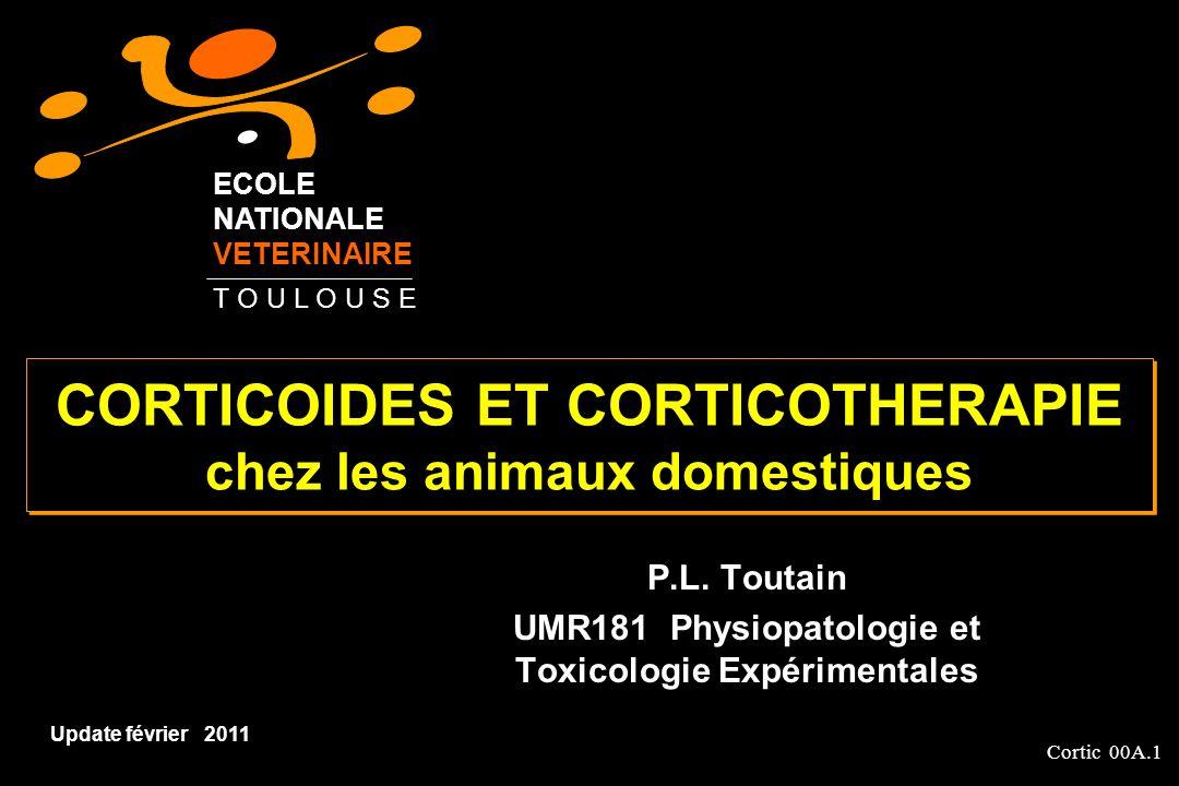 Cortic 00A.42 Fluticasone propionate (pas dAMM vétérinaire) Corticoïdes fluoré 20 fois laffinité de la DXM pour le récepteur du cortisol Utilisé en inhalation pour traiter lasthme félin (220µg, 2 fois par jour) et les syndromes dobstruction récurrente des voies aériennes du cheval (2200 µg, 2 fois par jour) Nécessite d inhalateurs spécialisés Risque pour lutilisateur Biodisponibilité systémique de 25% chez lhomme Déglutition dune large fraction