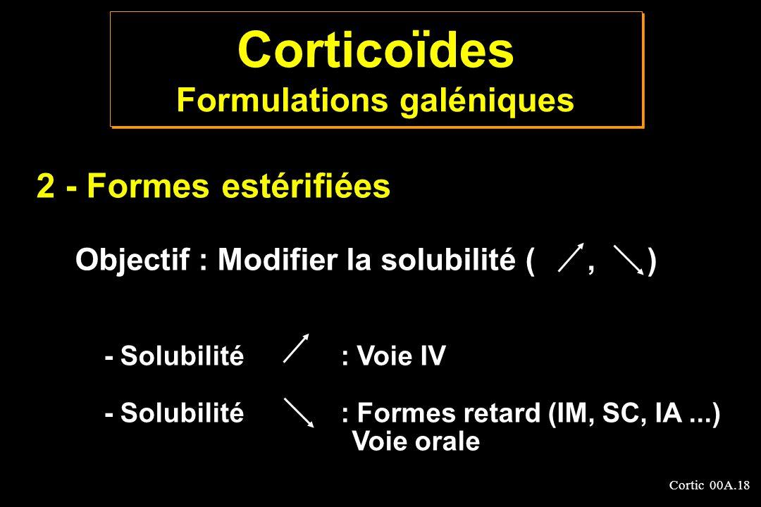 Cortic 00A.18 2 - Formes estérifiées Objectif : Modifier la solubilité (, ) - Solubilité : Voie IV - Solubilité : Formes retard (IM, SC, IA...) Voie o