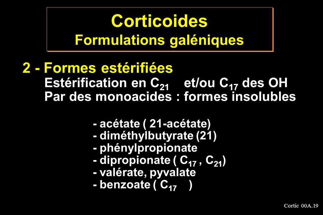 Cortic 00A.19 2 - Formes estérifiées Estérification en C 21 et/ou C 17 des OH Par des monoacides : formes insolubles - acétate ( 21-acétate) - diméthy