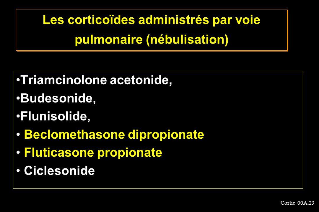 Cortic 00A.23 Les corticoïdes administrés par voie pulmonaire (nébulisation) Triamcinolone acetonide, Budesonide, Flunisolide, Beclomethasone dipropio
