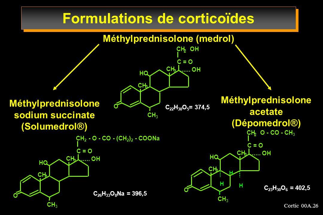 Cortic 00A.26 Formulations de corticoïdes Méthylprednisolone (medrol) Méthylprednisolone sodium succinate (Solumedrol®) Méthylprednisolone acetate (Dé