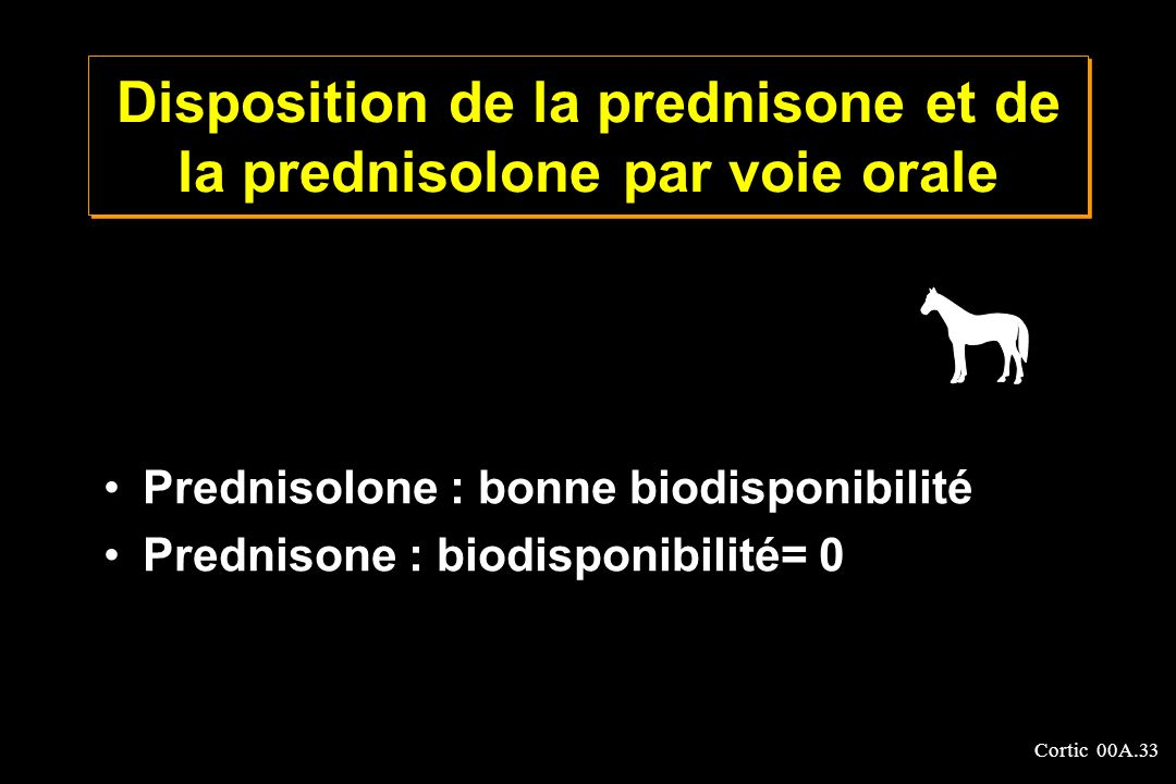Cortic 00A.33 Disposition de la prednisone et de la prednisolone par voie orale Prednisolone : bonne biodisponibilité Prednisone : biodisponibilité= 0
