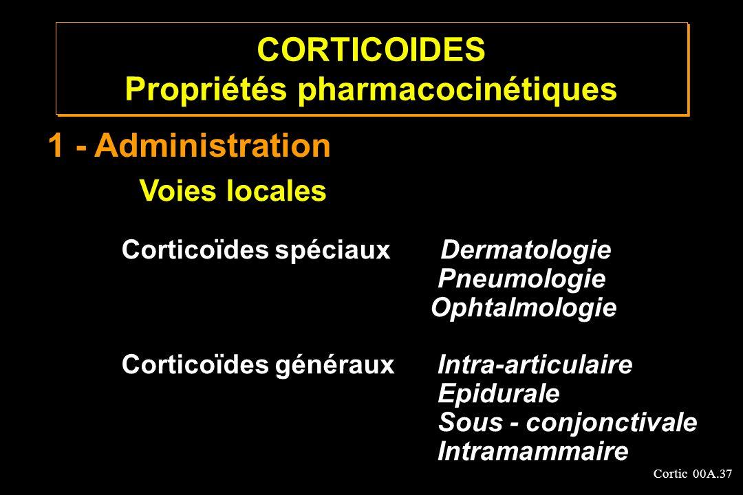 Cortic 00A.37 Voies locales Corticoïdes spéciaux Dermatologie Pneumologie Ophtalmologie Corticoïdes généraux Intra-articulaire Epidurale Sous - conjon