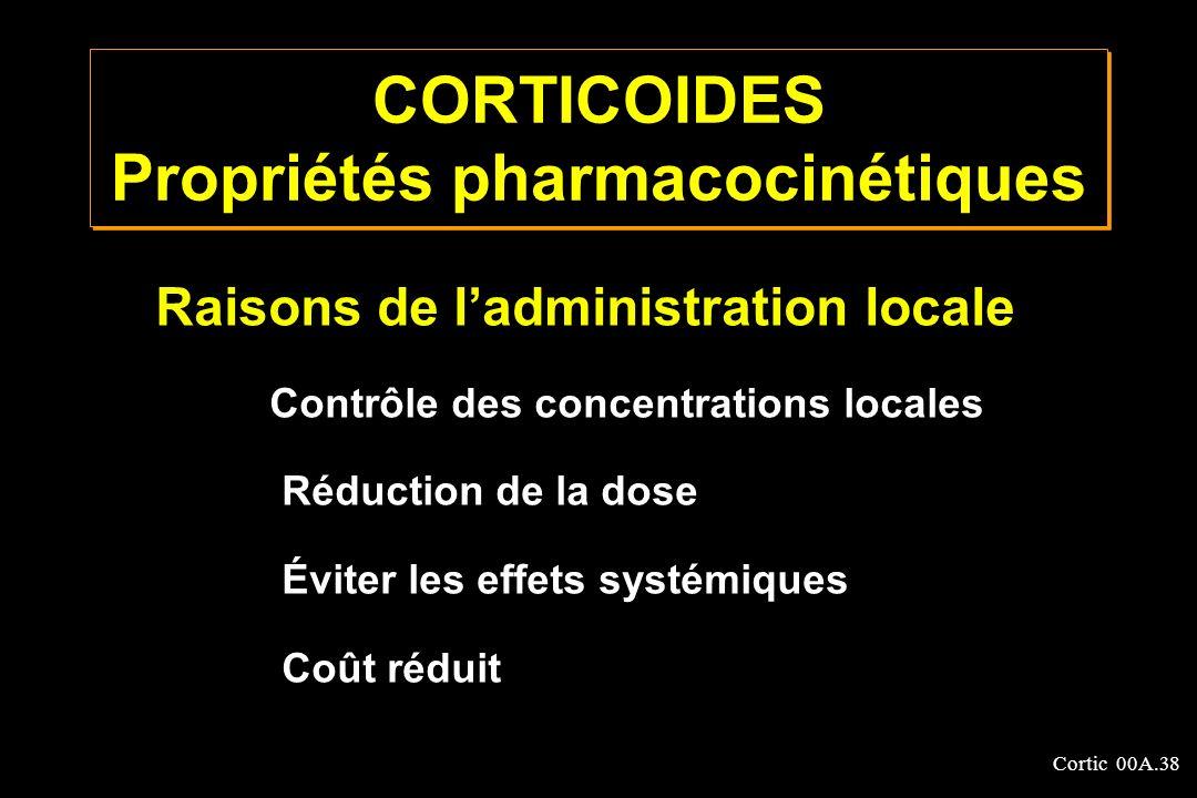 Cortic 00A.38 CORTICOIDES Propriétés pharmacocinétiques Raisons de ladministration locale Contrôle des concentrations locales Réduction de la dose Évi
