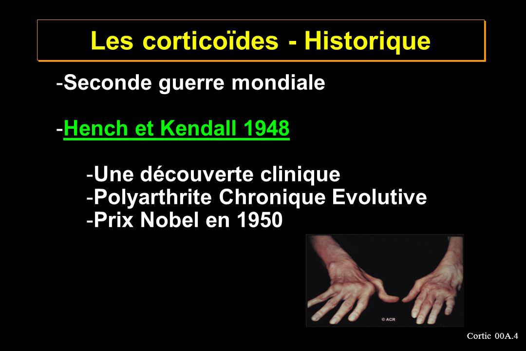 Cortic 00A.4 -Seconde guerre mondiale -Hench et Kendall 1948Hench et Kendall 1948 -Une découverte clinique -Polyarthrite Chronique Evolutive -Prix Nob