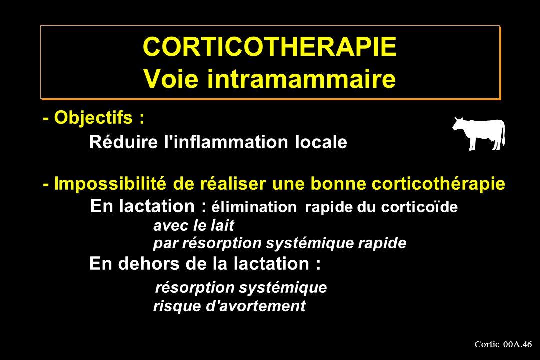 Cortic 00A.46 CORTICOTHERAPIE Voie intramammaire - Objectifs : Réduire l'inflammation locale - Impossibilité de réaliser une bonne corticothérapie En