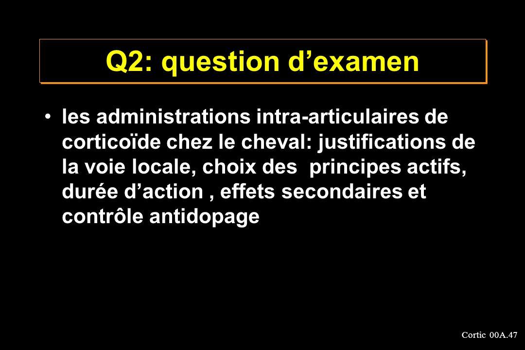 Cortic 00A.47 Q2: question dexamen les administrations intra-articulaires de corticoïde chez le cheval: justifications de la voie locale, choix des pr