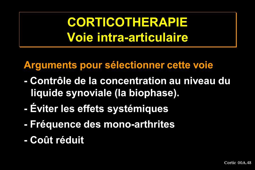 Cortic 00A.48 CORTICOTHERAPIE Voie intra-articulaire Arguments pour sélectionner cette voie - Contrôle de la concentration au niveau du liquide synovi