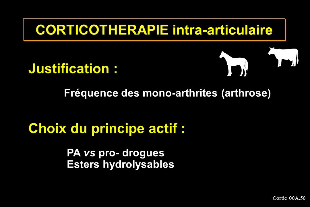 Cortic 00A.50 CORTICOTHERAPIE intra-articulaire Justification : Fréquence des mono-arthrites (arthrose) Choix du principe actif : PA vs pro- drogues E