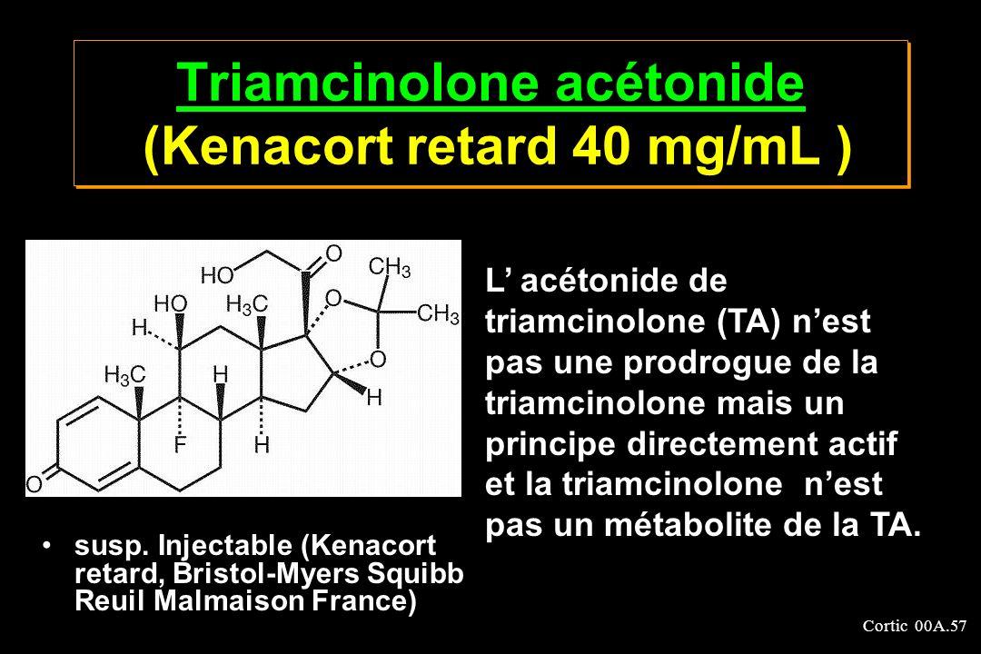 Cortic 00A.57 Triamcinolone acétonide Triamcinolone acétonide (Kenacort retard 40 mg/mL ) Triamcinolone acétonide Triamcinolone acétonide (Kenacort re