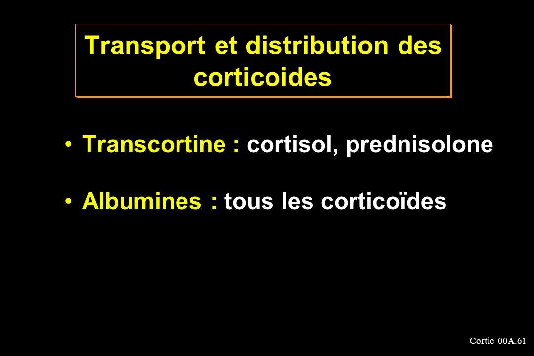 Cortic 00A.61 Transport et distribution des corticoides Transcortine : cortisol, prednisolone Albumines : tous les corticoïdes