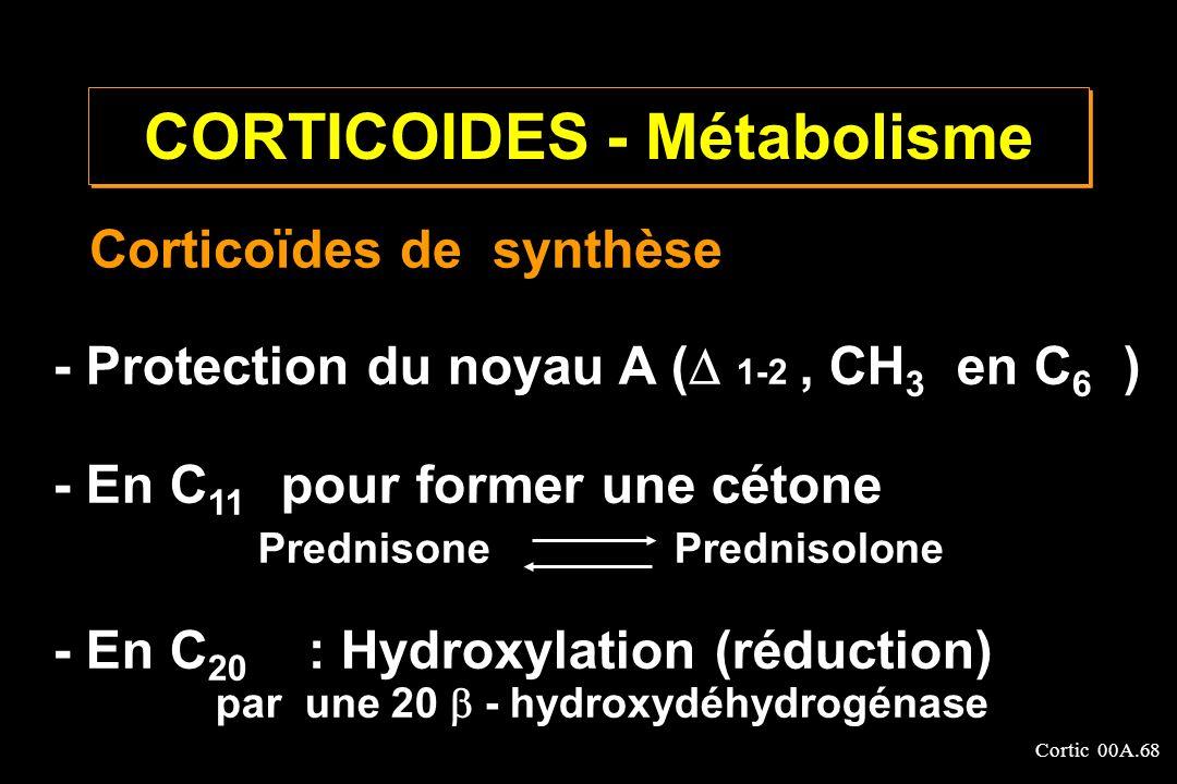 Cortic 00A.68 Corticoïdes de synthèse - Protection du noyau A ( 1-2, CH 3 en C 6 ) - En C 11 pour former une cétone Prednisone Prednisolone - En C 20
