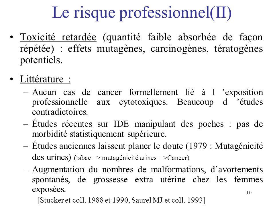 10 Le risque professionnel(II) Toxicité retardée (quantité faible absorbée de façon répétée) : effets mutagènes, carcinogènes, tératogènes potentiels.