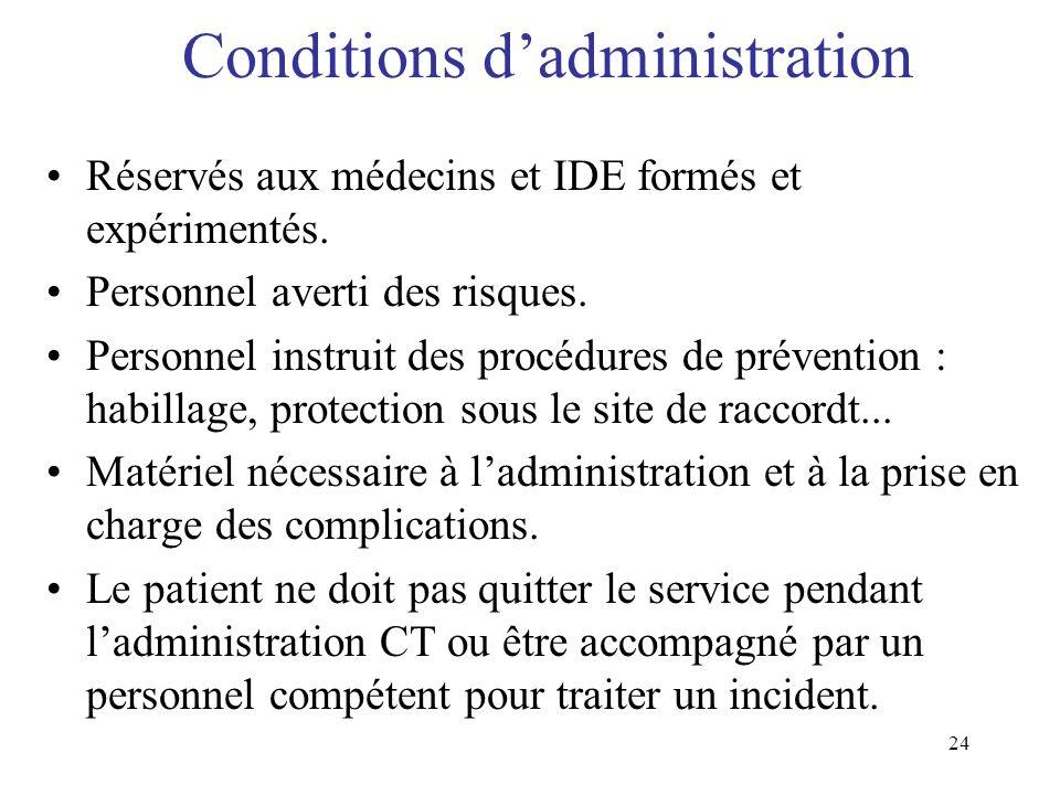 24 Conditions dadministration Réservés aux médecins et IDE formés et expérimentés. Personnel averti des risques. Personnel instruit des procédures de