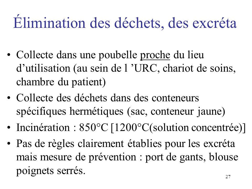 27 Élimination des déchets, des excréta Collecte dans une poubelle proche du lieu dutilisation (au sein de l URC, chariot de soins, chambre du patient
