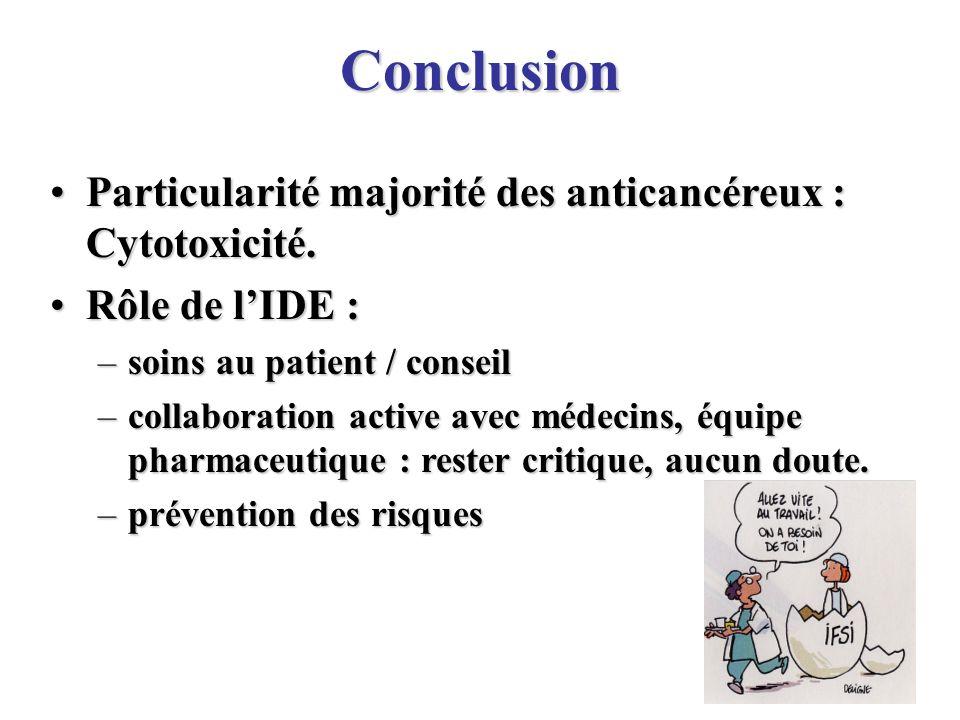 33 Particularité majorité des anticancéreux : Cytotoxicité.Particularité majorité des anticancéreux : Cytotoxicité. Rôle de lIDE :Rôle de lIDE : –soin