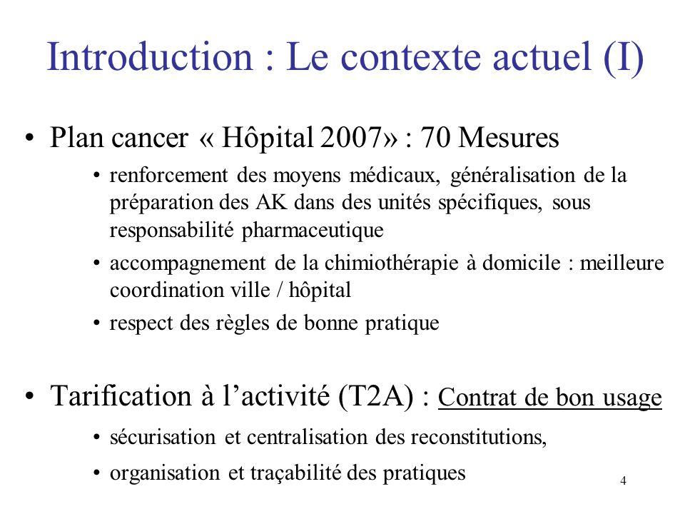 4 Introduction : Le contexte actuel (I) Plan cancer « Hôpital 2007» : 70 Mesures renforcement des moyens médicaux, généralisation de la préparation de