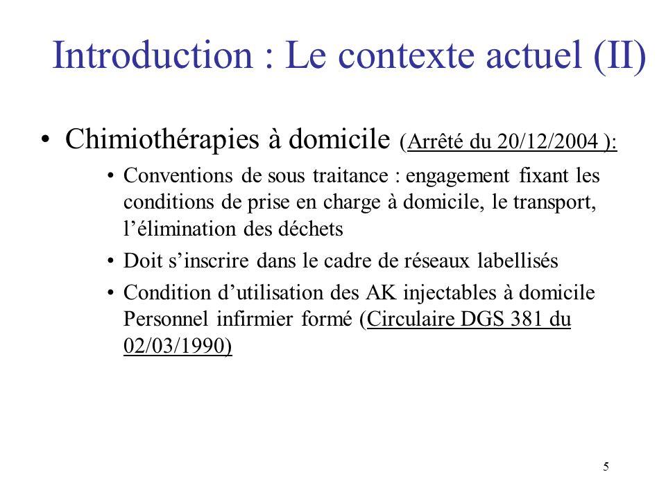 5 Introduction : Le contexte actuel (II) Chimiothérapies à domicile (Arrêté du 20/12/2004 ): Conventions de sous traitance : engagement fixant les con