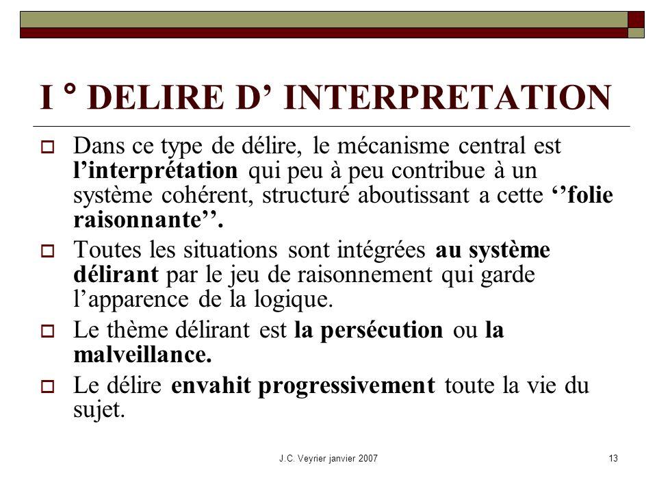 J.C. Veyrier janvier 200713 I ° DELIRE D INTERPRETATION Dans ce type de délire, le mécanisme central est linterprétation qui peu à peu contribue à un