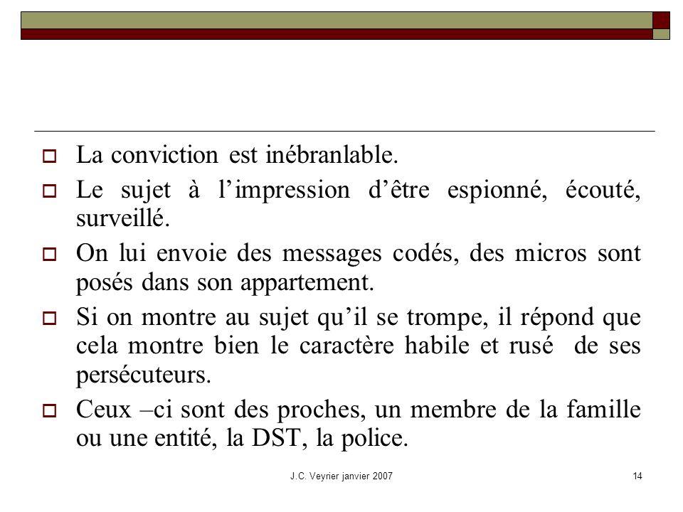 J.C. Veyrier janvier 200714 La conviction est inébranlable. Le sujet à limpression dêtre espionné, écouté, surveillé. On lui envoie des messages codés