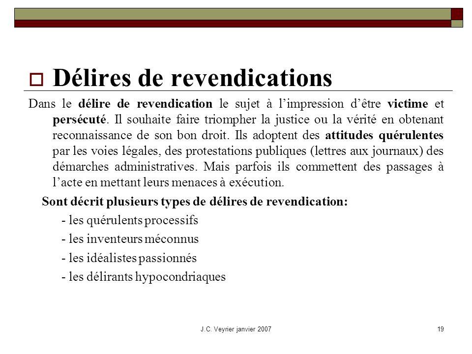 J.C. Veyrier janvier 200719 Délires de revendications Dans le délire de revendication le sujet à limpression dêtre victime et persécuté. Il souhaite f