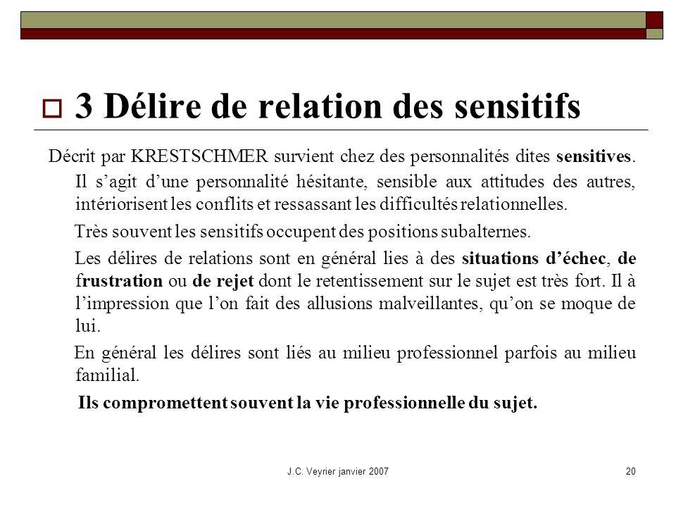 J.C. Veyrier janvier 200720 3 Délire de relation des sensitifs Décrit par KRESTSCHMER survient chez des personnalités dites sensitives. Il sagit dune