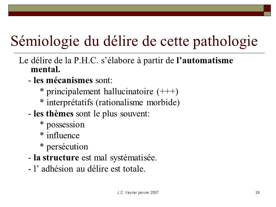 J.C. Veyrier janvier 200724 Sémiologie du délire de cette pathologie Le délire de la P.H.C. sélabore à partir de lautomatisme mental. - les mécanismes