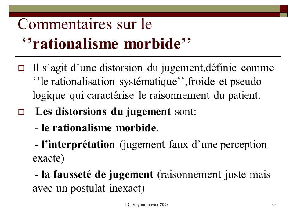 J.C. Veyrier janvier 200725 Commentaires sur le rationalisme morbide Il sagit dune distorsion du jugement,définie comme le rationalisation systématiqu
