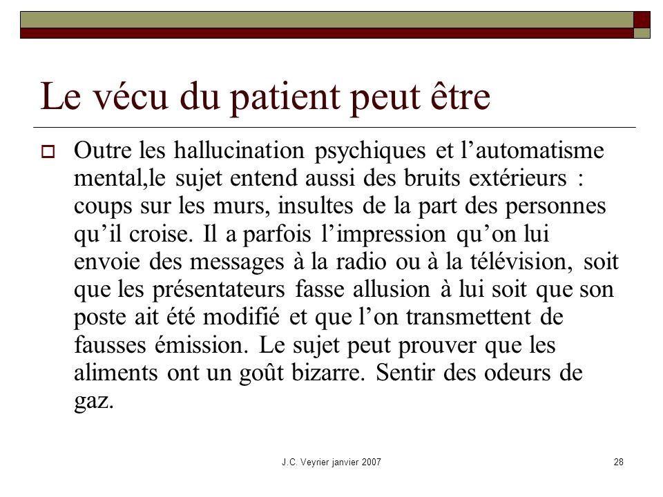 J.C. Veyrier janvier 200728 Le vécu du patient peut être Outre les hallucination psychiques et lautomatisme mental,le sujet entend aussi des bruits ex