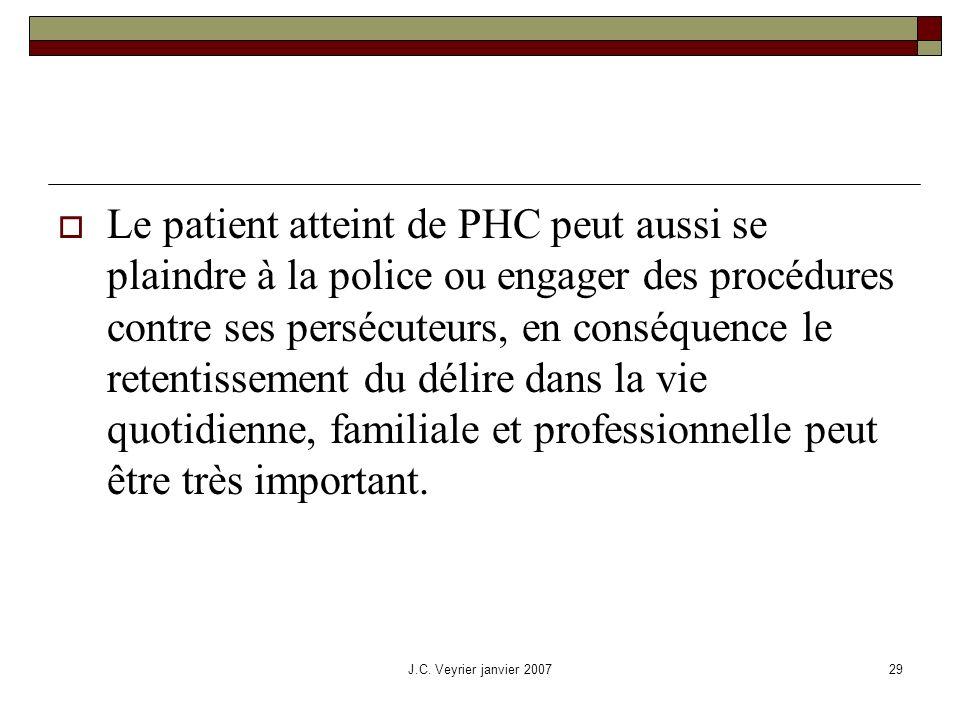 J.C. Veyrier janvier 200729 Le patient atteint de PHC peut aussi se plaindre à la police ou engager des procédures contre ses persécuteurs, en conséqu